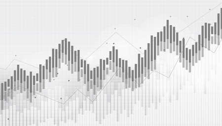 Abstract financial chart with uptrend line graph in stock market on black and white background.growing income, schedule,economy.vector design