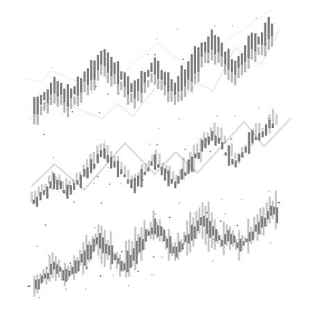 Set of Abstract financial chart with uptrend line graph in stock market. black and white.growing income, schedule,economy.vector design Ilustração
