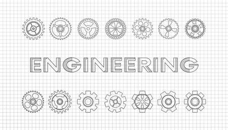 Mechanical engineering drawings. Technical drawing.ENGINEERING - science,Cogwheel flat machine gear icon. mathematics education concept typography design.