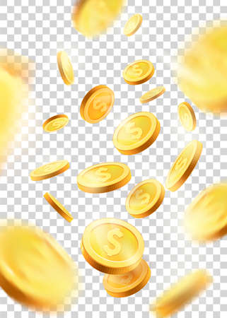 Realistic Gold coins explosion. Isolated on transparent background.gold coins falling 3d, icon with shadows