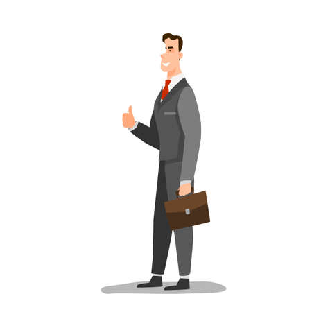 Smiling businessman shows the thumb up. Flat style color modern vector