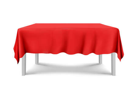 White square Table with tablecloth red on a white background.cloth,realistick,3d.furniture for interior, vector Ilustração