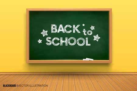Room with a blackboard on the wall,writing desk.3D board.Chalk inscription on a blackboard. Back to school. Realistic black board in a wooden frame.Empty room with a yellow wall and wooden floor. Vettoriali