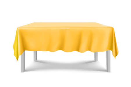 White square Table with yellow tablecloth on a white background.cloth,realistick,3d.furniture for interior, vector