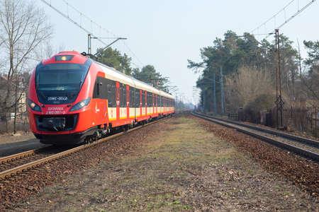 Modern train in Warsaw, Poland, 2020.