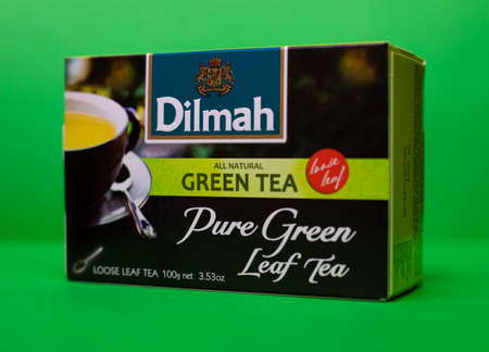 Dilmah tea. Natural pure green leaf tea. 01/06/2021. Warsaw, Poland