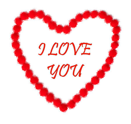 Valentine day. Stylish red text lettering I love you in red heart on a white background Zdjęcie Seryjne