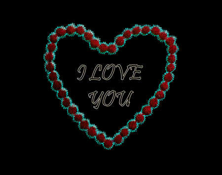 Valentine day. Stylish neon text lettering I love you in red neon heart on a black background