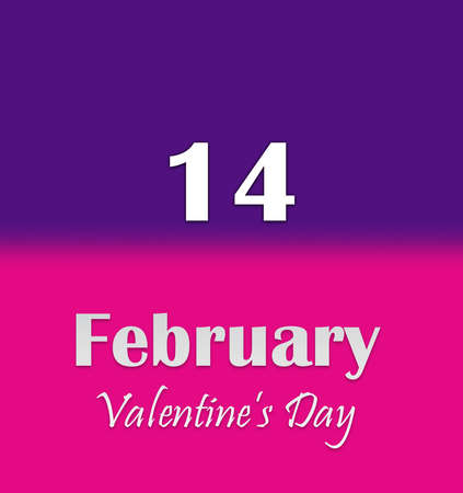 Valentine's Day. Calendar page text of February 14 on purple and pink background