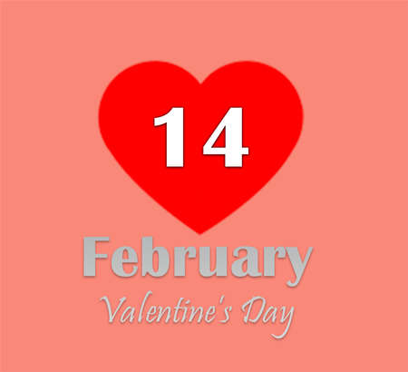 Valentine's Day. February 14 text calendar page with red heart