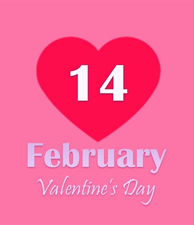 Valentine's Day. Calendar page text of February 14 on pink background Zdjęcie Seryjne