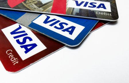 Choice of VISA credit and debit cards. Closeup of VISA credit and debit cards. 01/25/2021. Warsaw, Poland