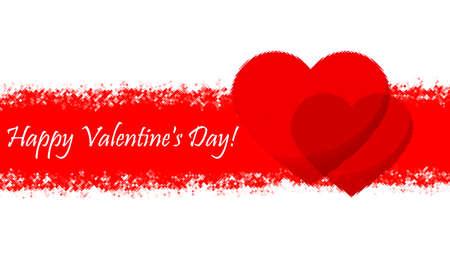 Happy Valentine's Day February 14. Two red hearts as symbols of love Zdjęcie Seryjne