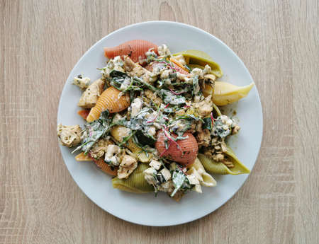 Cooked shell noodles in 5 colors with chicken and vegetable salad