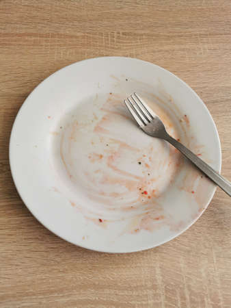 Dirty empty plate and fork after dinner on wooden table