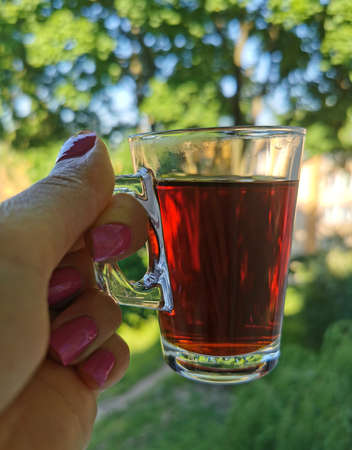 Coffee cup in female hand on a trees background on a summer warm day