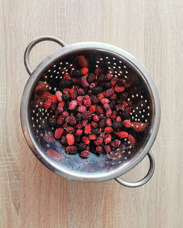Fresh, ripe red and black mulberries are beneficial for health, blueberries contain antioxidants