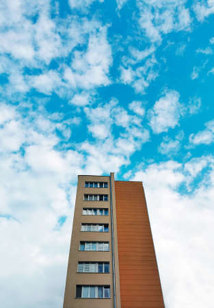 Beautiful tall building against the blue sky. Warsaw. Poland 07/21/2021