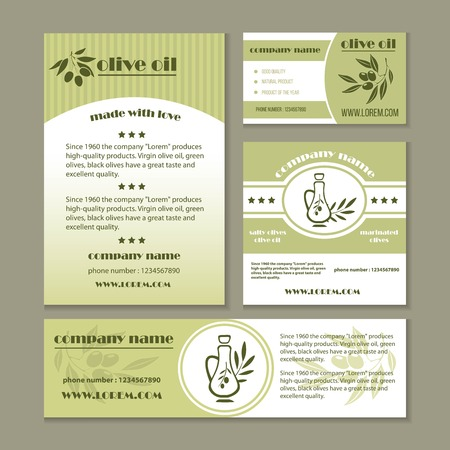 Olive oil product and Italian olives banners for extra virgin cooking or salad oil product. Vector design set of black and green olive branches for natural organic bottle label. Illusztráció