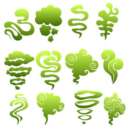 Cartoon stinky smell bubbles, water vapor and stench aroma streams vector set. Aroma smoke stream, odour toxic green illustration on white background