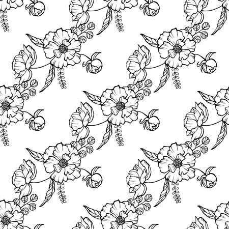 Vector seamless pattern with poppies, white daisies, cornflowers and ears of wheat on a white background. illustration for your web design. Stok Fotoğraf - 91174845