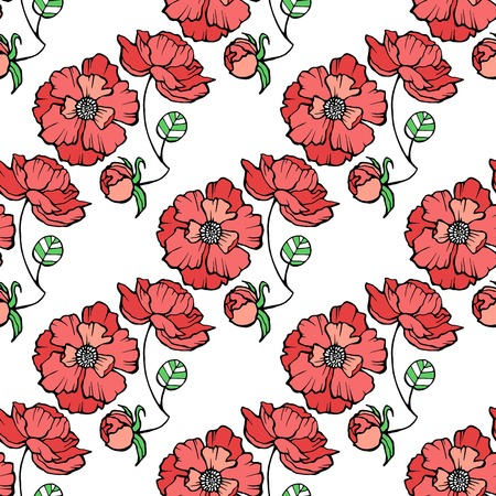 Pattern with red poppies. Çizim