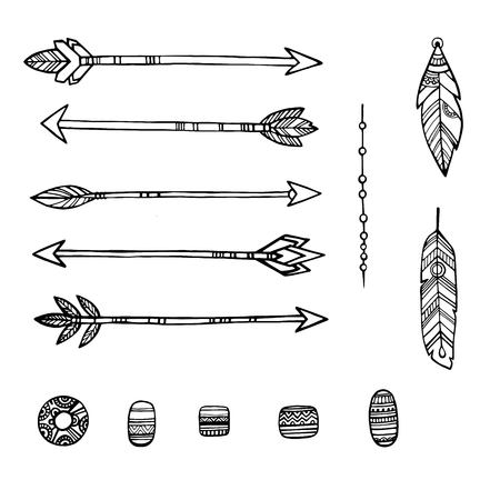Tribal indian arrows. hand drawn decorative elements in boho style. Weapon american aztec, arrow with feather, hipster elements arrows vector illustration on white background Ilustração