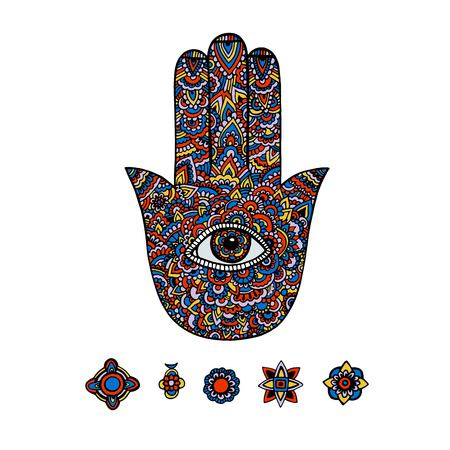 Multicolored illustration of a hamsa hand symbol. Hand of Fatima religious sign with all seeing eye. Vintage bohemian style. Vector illustration in doodle style.