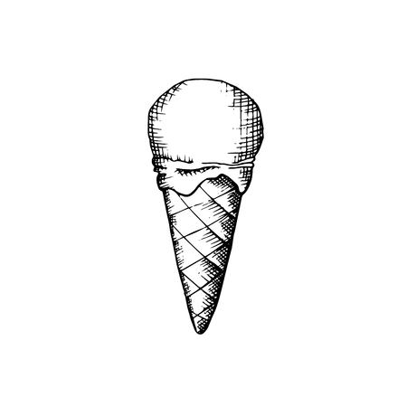 Yummy twist design fruit jam syrup softcream lollipop in crispy cupcake isolated on light backdrop. Freehand outline ink hand drawn picture icon sketch in art retro cartoon doodle graphic style Illustration
