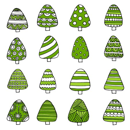 Hand drawn set of Christmas trees. Holidays background. Abstract doodle drawing woods. Vector art illustration Ilustrace