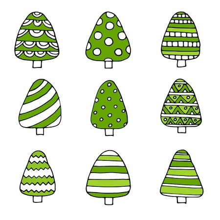 Hand drawn set of Christmas trees. Holidays background. Abstract doodle drawing woods. Vector art illustration Illustration