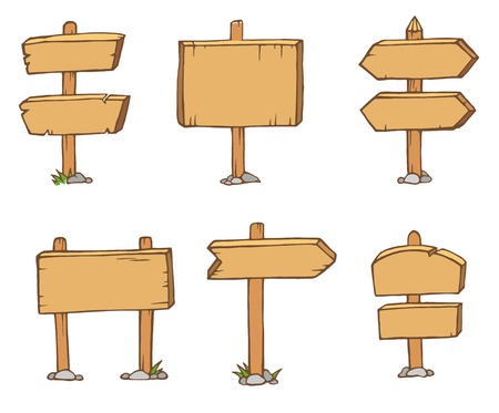 Old wooden blank cartoon sign boards.
