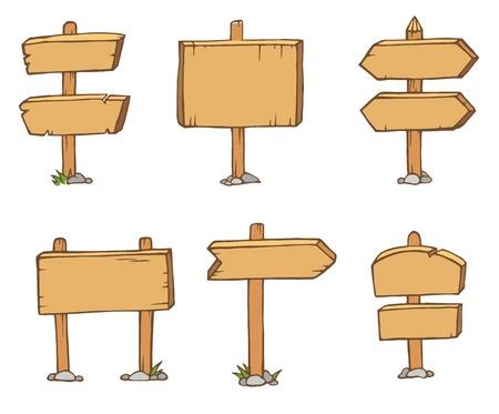 Old wooden blank cartoon sign boards. Illustration