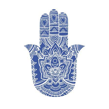 Illustration multicolore d'un symbole de la main hamsa. Signe religieux de main de Fatima avec tous les yeux qui voient. Style bohème vintage. Illustration vectorielle dans le style de doodle zentangle. Banque d'images - 92091136