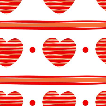 Simple hearts seamless vector pattern. Valentines day background. Flat design endless chaotic texture made of tiny heart silhouettes. Shades of red.