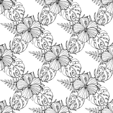 Tropical flowers, palm leaves, jungle plants, orchid, bird of paradise flower, pink seamless vector floral pattern background, exotic botanical wallpaper, vintage boho style.