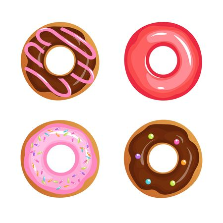 Cartoon glazed sweet donut isolated vector set. Donut dessert with chocolate and sugar illustration for your web design.