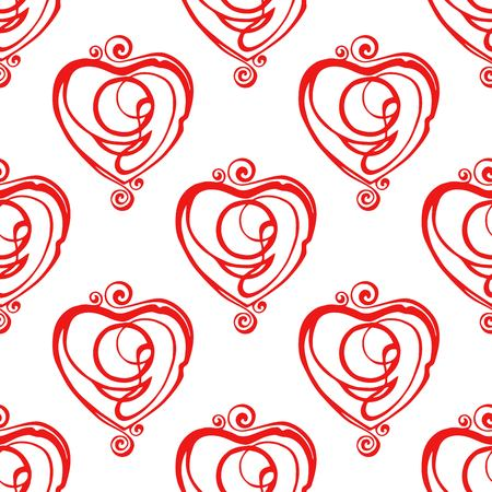 Simple hearts seamless vector pattern. Valentines day background. Flat design endless chaotic texture made of tiny heart silhouettes. Shades of colorful ilustration.