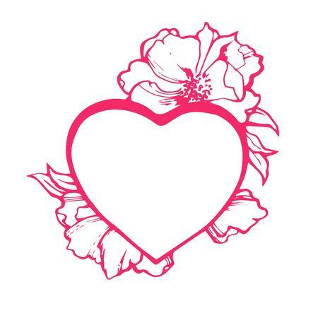 Corazón Doodle Arte Aislado. Ilustración Del Vector Para Colorear ...