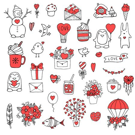 Set of hand drawn doodle love elements for wedding, Valentines Day card, sticker, stamp design. Vector illustration with heart, love, speech bubble, arrow, lettering text. Hand drawn sketch style. Illustration