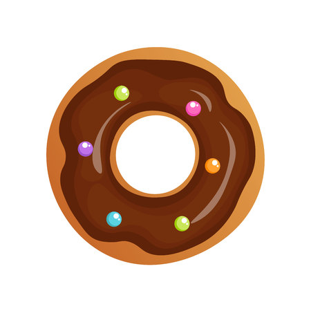 Vector Isolated donut. Modern flat and cartoon geometric donuts on white background. For sticker, label, icon or favicon. Glazed cool donuts with topping. Tasty pink sign for bakery menu.