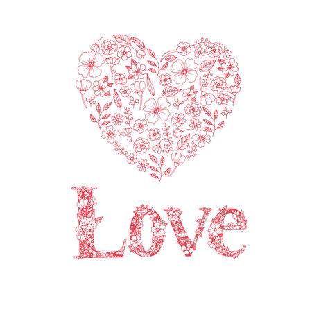 Valentine Day Love Hearts Sketchy Doodles Design Elements on white Paper Background- Vector Illustration Illustration