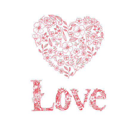 Valentine Day Love Hearts Sketchy Doodles Design Elements on white Paper Background- Vector Illustration 矢量图像