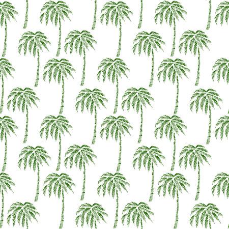 Seamless Pattern avec des palmiers de noix de coco. Texture de silhouette d'impression sans fin. Écologie. Forêt. Dessin à main levée. Rétro Style Vintage - vecteur Banque d'images - 93947640