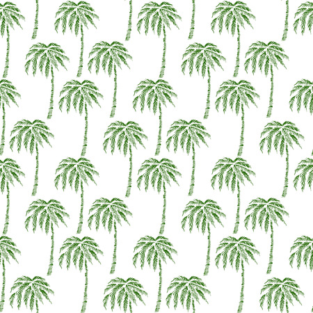 Seamless Pattern with Coconut Palm Trees. Endless Print Silhouette Texture. Ecology. Forest. Hand Drawing. Retro. Vintage Style - vector