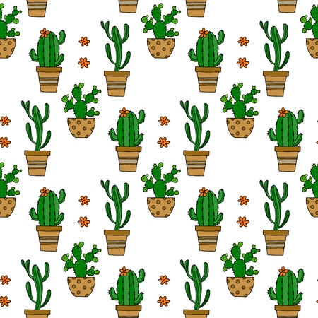 Cactus seamless vector pattern. Blooming cactus on white background illustration for your web design.