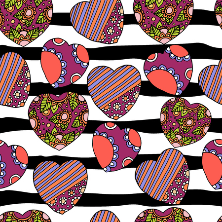 Cute doodle seamless wallpaper with hand drawn Valentine hearts Vetores