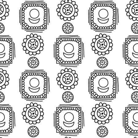 African and mexican aztec american tribal vector borders, frame patterns. Seamless pattern for your design.