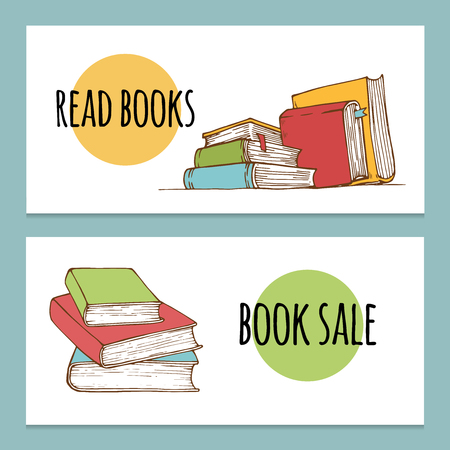 Set of horizontal banner with stacks of books. Stylized vector illustration, outline and colored version. Hand drawn style for your design.