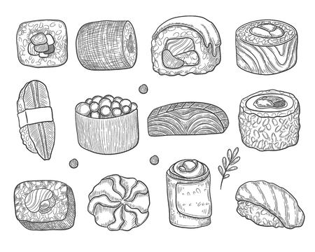 Asian Food Icon Set. Sushi. Sketch style. Vector hand drawn illustration for your design. Illustration
